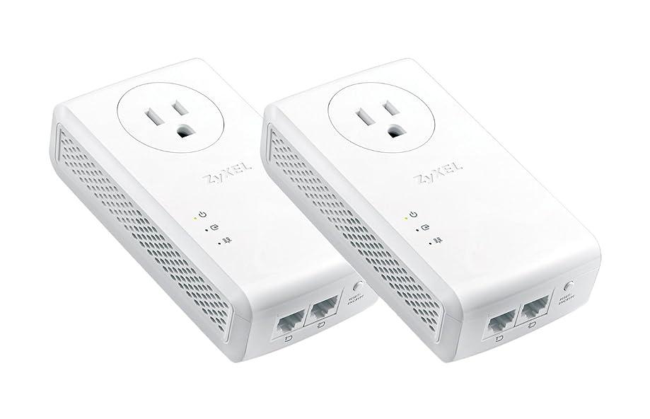 Zyxel AV2000 Powerline Kit, Pass-Thru, 2-Port Gigabit, Plug&Play, Up to 1800 Mbps (PLA5456BBKIT)