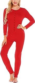 Ekouaer Bandage One Piece Pajama Romper Underwear Set Long Sleeve Jumpsuit Sleepwear for Women
