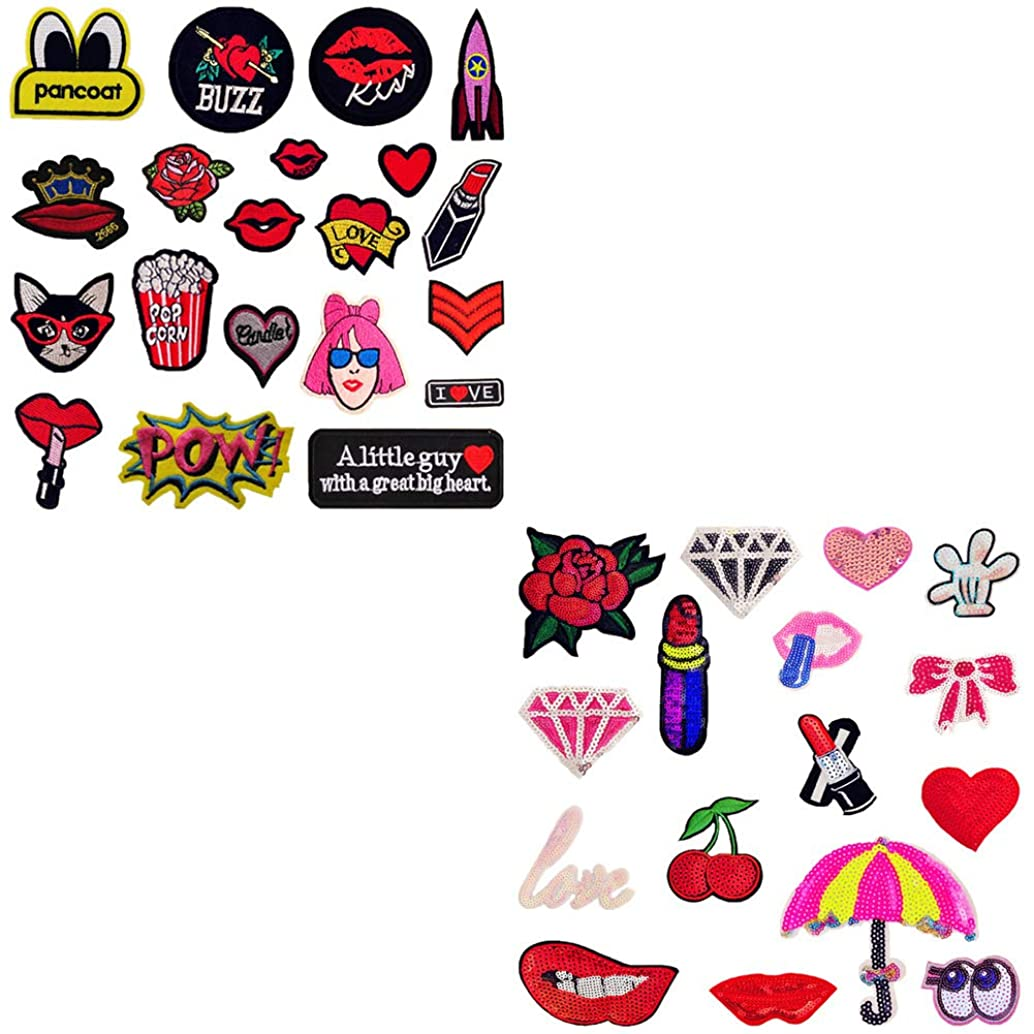 36 Pieces Embroidery Applique Patches Lips Flowers Letters Love Heart Umbrella Bow Lipstick Iron on Patches for Jeans, Jackets, Clothing, Scrapbooking Art Craft