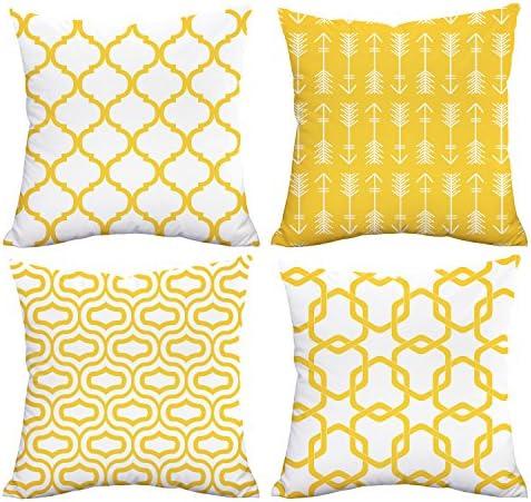 Best Fascidorm Lemon Yellow Throw Pillow Case Arrow Quatrefoil Accent Trellis Chain Pillow Cover Modern C