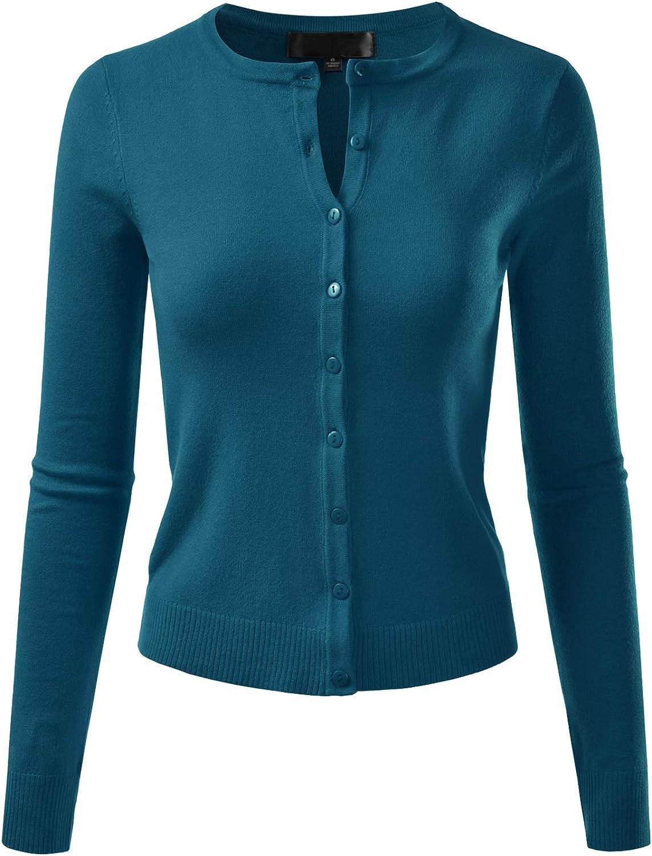 EIMIN Women's Crewneck Long Sleeve Button Down Stretch Knit Cardigan Sweater