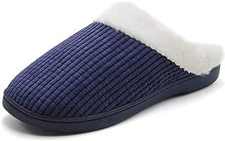 Jusefu Men's Women's Classic Cozy Memory Foam Plush Winter House Slippers Plush Lining Cotton Slippers Slip On Clog Indoor Outdoor Anti-Skid