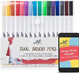 Art Pens - Watercolor Brush Markers 16 Colors for Lettering, Coloring, Bullet Journal, Calligraphy - Colored Pens Set w/Fine Point Dual Tip for Beginners, Adults & Kids. Includes 28-Page eBook