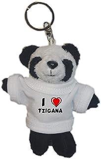 Shopzeus Oso Panda de Peluche (Llavero) con Amo Tzigana en la Camiseta (Nombre de Pila/Apellido/Apodo)