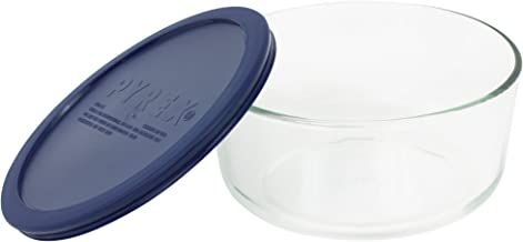 Pyrex Simply Store 7-Cup Round Dish, Clear with Blue Lid