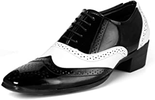 BXXY Black and White Height Increasing Mafia Full Brogue Shoes for Men