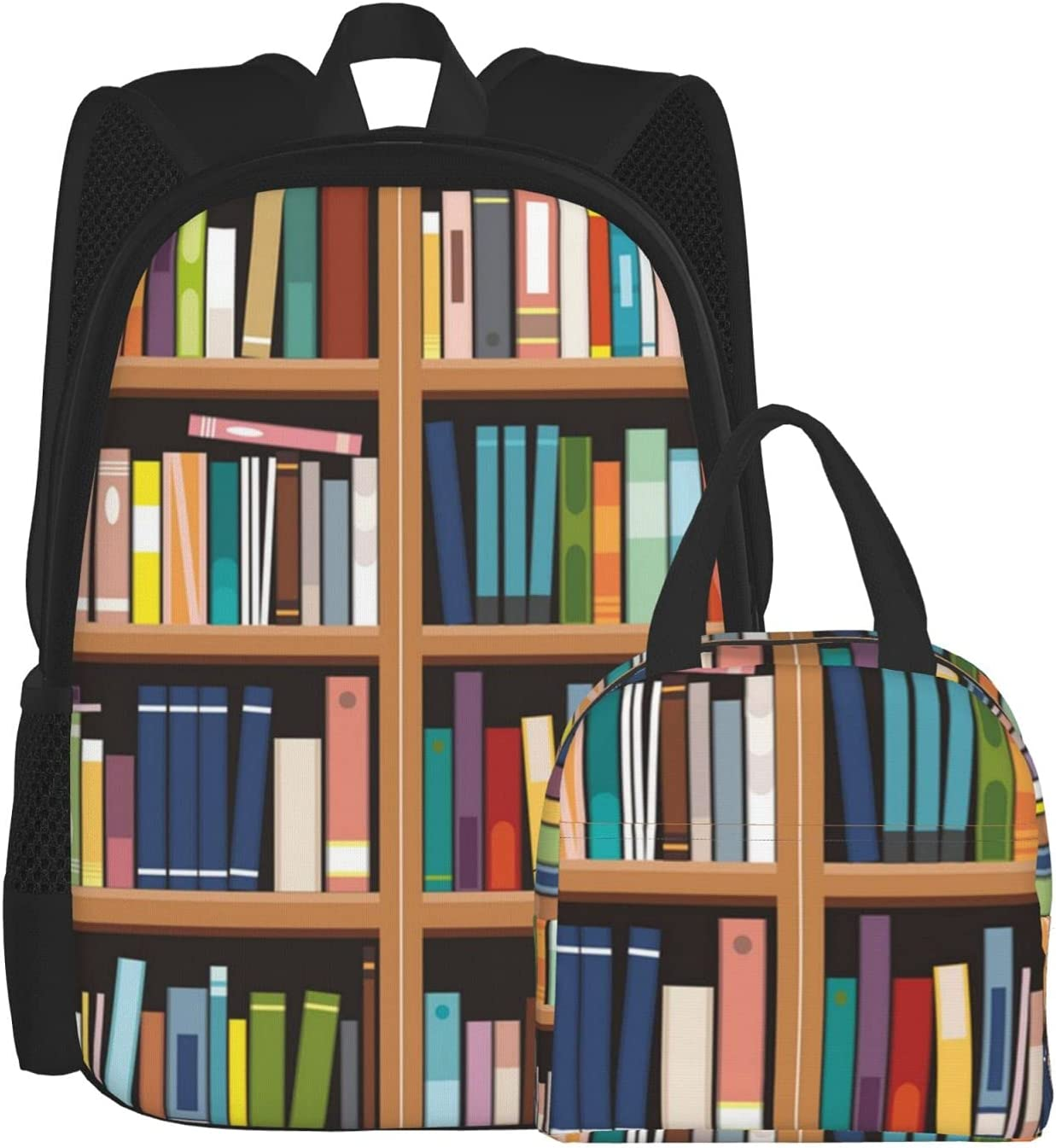 Backpack And Lunch Bag Set 2 Library Bookshelf Piece Back Print Save money Free shipping anywhere in the nation