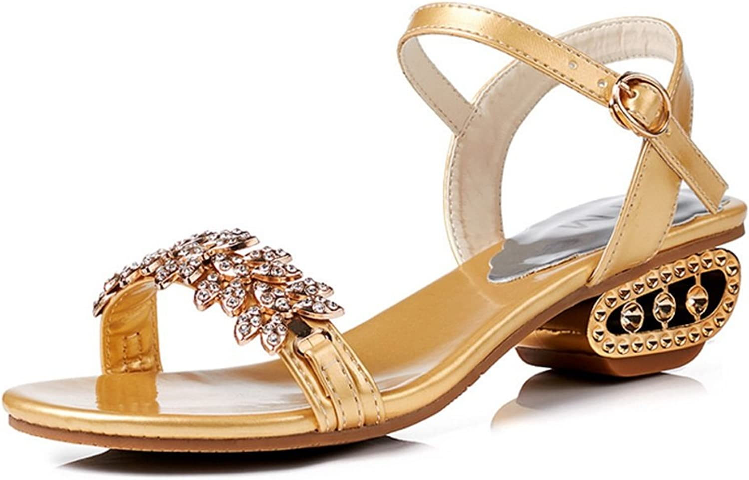 LZWSMGS Women's shoes Crystal Summer Club shoes Sandals Chunky Heel Casual Evening Dress Party Dinner gold Silver Black 34-40cm Ladies Sandals (color   gold, Size   5.5 US)