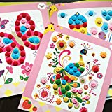 NeWisdom Educational Preschool Toys Early Learning Kits - Colorful Sticky Buttons Diamonds Painting Art Set - Mosaic Sticker Art Kits for Kids - Art and Crafts Kits for Kids 2020 (Cartoon World)
