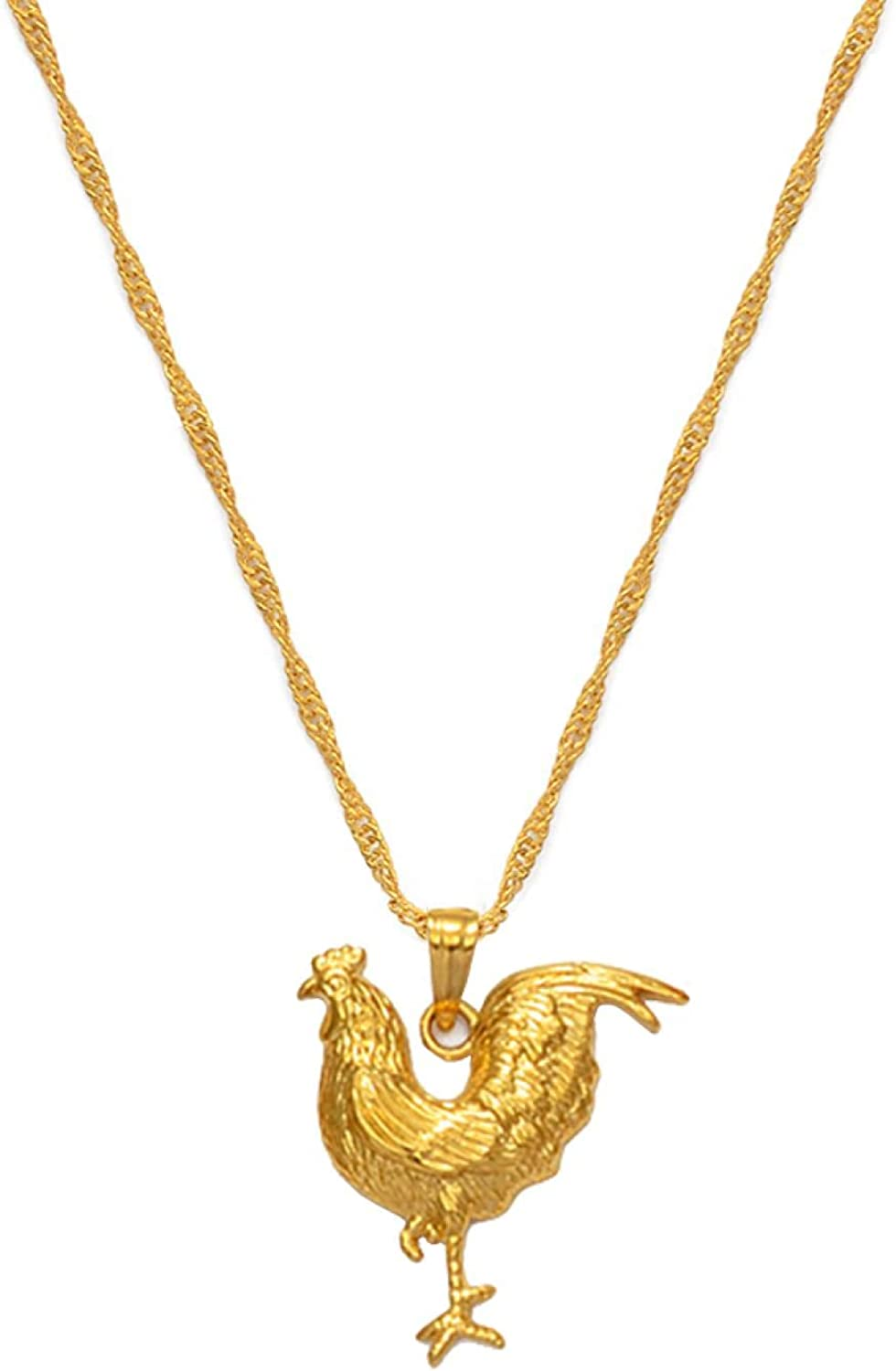 Gold Color Chicken Necklace For Women Girl Rooster Pendant And Chain Necklaces Jewelry Gifts