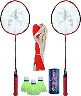 Hipkoo Complete Higher Badminton Combo Set (HR 16) with Badminton Bag (2 Rackets, Net, Shuttlecock Pack of 3)