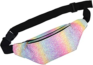 Fanny Pack for Kids, Glitter Waist Bag Shiny Bags with Adjustable Belt for Children Sport Running, Camping, Trip