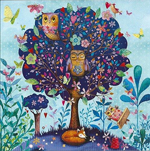 Quadratische Postkarte Mila Marquis * Baum mit Eulen & Fuchs
