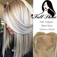 Full Shine Hair Piece Clip In 12 Inch Color 14 Highlighted with Color 60 White Blonde Crown Topper Remy Human Hair Extensions Cap Size 13x13 CM Straight Hair Toppers For Women