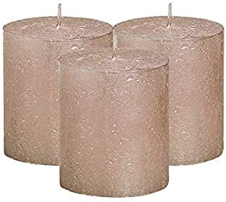 "BOLSIUS Unscented Pillar Candles - Rustic Full Metallic Rose Gold Candle 2.75"" x 3.25"" - Decorative Candles Set of 3 Clean..."