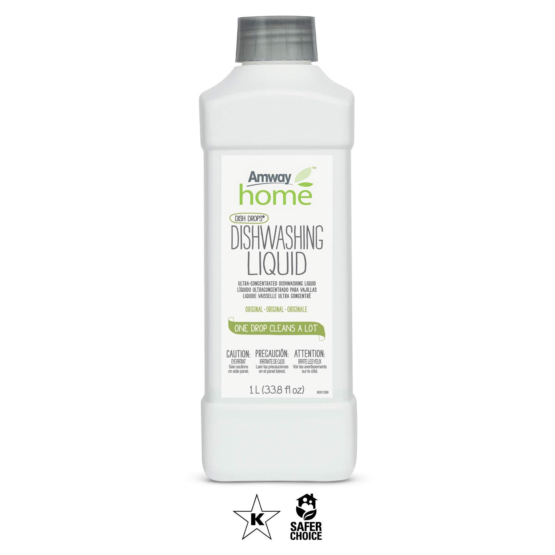 Amway Dish-Washing Detergent Refill - Dish Drop - 1L (33.8 fl oz) - Original Scent - One Drop Cleans A LOT!