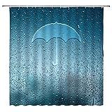 N\A Cortina de Ducha Tipo Paraguas Obra de Arte Creativa en la Ventana bajo la Lluvia Tejido de poliéster Abstracto Decoración de baño con Orificio de Gancho