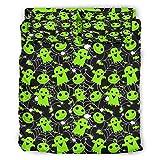 Ftcbrgifk Juego de sábanas de 4 piezas de color verde de Halloween, juego de edredón ligero de cama de tamaño king hipoalergénico para ropa de cama para tus amigos blanco 228 x 264 cm