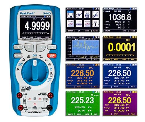 PeakTech 3440 - Multímetro Digital Rms con 4.0 Bluetooth y Pantalla Gráfica, 50000...