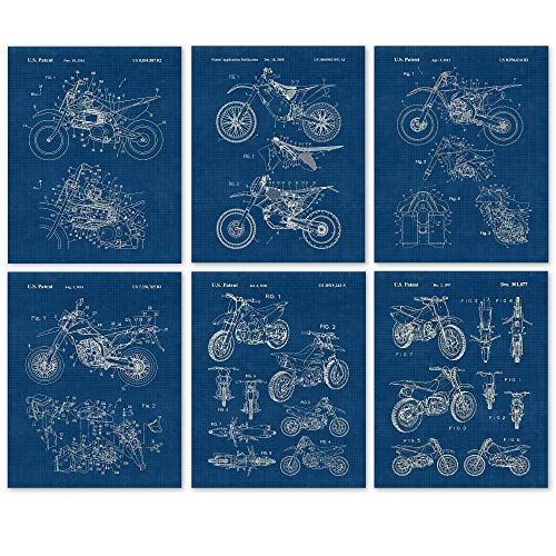 Vintage Honda, Yamaha, Kawasaki, KTM Motocross Dirt Bikes Patent Poster Prints, Set of 6 (8x10) Unframed Photos, Wall Art Decor Gifts Under 20 for Home, Office, Man Cave, College Student, X Games