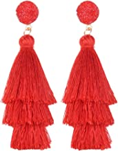 Belmarti Colorful Christmas Tree-shaped Layered Tassel Dangle Drop Druzy Stud Earrings Holiday Party Christmas Costume Jewelry for Women Girls