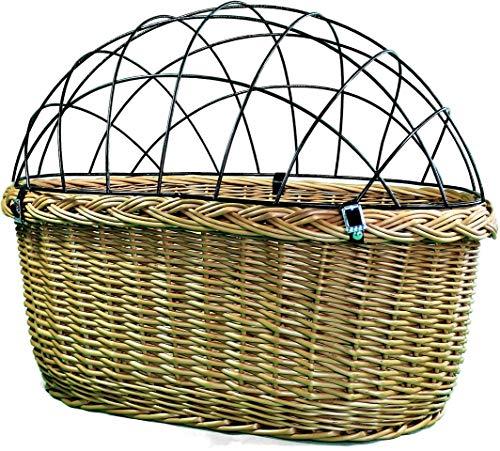 Alpenfell Fahrradkorb vorne 2 in 1 - Oval Hundekorb Hundefahrradkorb Weidenkorb Bastkorb Fahrrad Korb geflochten Groß - 57 x 41 x 44cm
