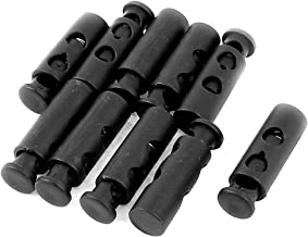 uxcell Spring Loaded 6mm Dia Dual Hole Cord Locks Stoppers Toggle 10Pcs Black