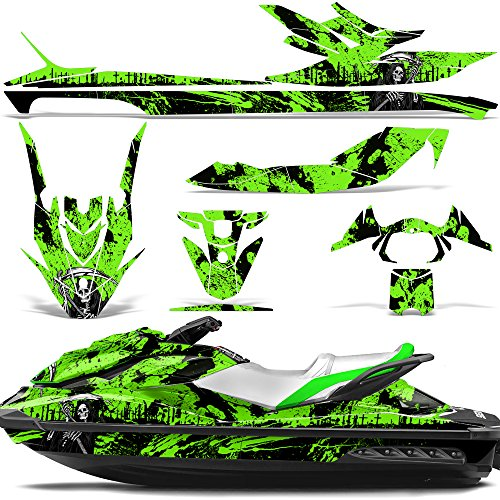 Wholesale Decals Jet Ski Graphics kit Sticker Decal Compatible with Sea-Doo GTI SE130 2011-2019 - Reaper V2 Green