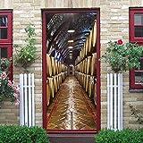 YANGCH Stickers Porte 3D 90x200cm Vintage cave à vin tonneau en bois vin rouge Autocollant Porte Trompe l'œil - Poster de Porte - Stickers muraux Salon Porte, Cuisine, Chambre, Salle de Bain - Sticker