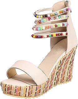 Midress Womens Bohemia Wedge Sandals Flip Flops Open Toe Breathable Non-Slip Shoes Light Sandals