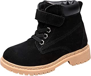 DADAWEN Boy's Girl's Classic Leather Strap Waterproof Outdoor Hiking Short Ankle Winter Snow Boots (Toddler/Little Kid/Big Kid)
