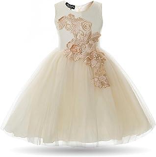 c39c1af4b043d CIELARKO Robe de Soirée Fille Fleur sans Manches Tulle Vêtement Cérémonie  Enfant