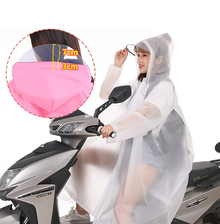ZUOMAレインウエア レインコート 自転車 バイク用 ロング ポンチョ 防水 大人 長めバイザー (透明, XL)