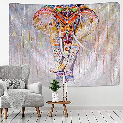 WERT Tapiz de Elefante de Perlas de Colores Estilo de Mosaico 3D Hippie Boho Tapiz de Estilo Mandala Tapiz de Tela de Fondo A17 100x150cm