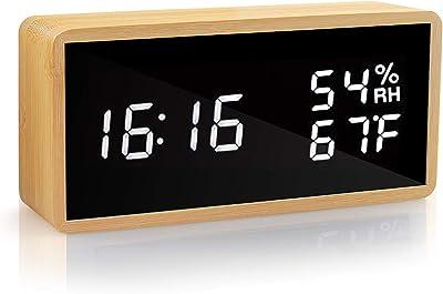 KABB LED-Wecker aus natürlichem Bambus-Material mit Einstellbarer Helligkeit, Feuchtigkeitsanzeige des Kalenders und Spiegeluhr mit Sprachsteuerung