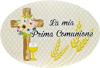 20 pezzi Adesivi Prima Comunione, 48x70 millimetri, etichette chiesa, calice, croce, grazie, festa, ovale, ellisse, oval s...