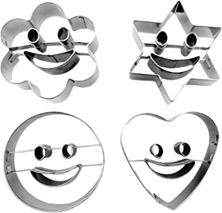 Migavan Cookie Cutter,Cookie Cutter Set,4PCS Assorted Style Smiley Face Stainless Steel Cookie Biscuit Fondant Cutter Mould Set for Home Kitchen Restaurant