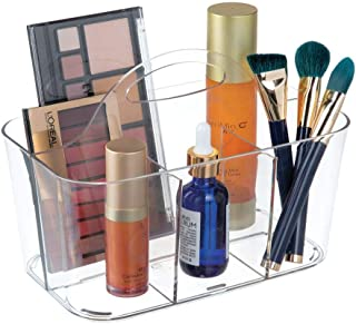 mDesign Plastic Makeup Storage Organizer Caddy Tote - Divided Basket Bin, Handle for Bathroom Storage - Holds Eyeshadow Palettes, Nail Polish, Makeup Brushes, Blush, Shower Essentials - Small - Clear