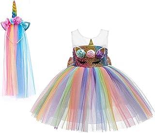 Yalla Baby Girls Unicorn Glitter Rainbow Dress with Big Bow- Party Costume for Kids Girls 90-140cm 3-8 Years - Free Rainbo...