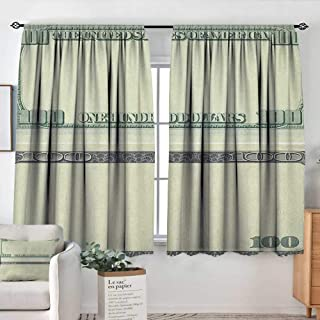 Theresa Dewey Decor Room Darkening Wide Curtains Money,Hundred Dollar Bill Century Note Design American Currency Style Frame Pattern, Pale Green Grey,Insulating Room Darkening Blackout Drapes 42