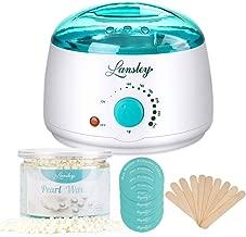 Waxing Kit for Women Men,Lansley Hair Removal Wax Wamer Kit Machine for Face Full Body Brazilian Bikini Sensitive Skin with 300g/10.5oz Pearl Hard Wax Beans & 10 Spatula Sticks