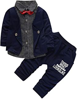 Christmas Merry Wishes Baby Boy Gentleman Suit Long Sleeve 2 Pieces Bow Dot Print Tops+Letter Pants Wedding Outfits Gentle...