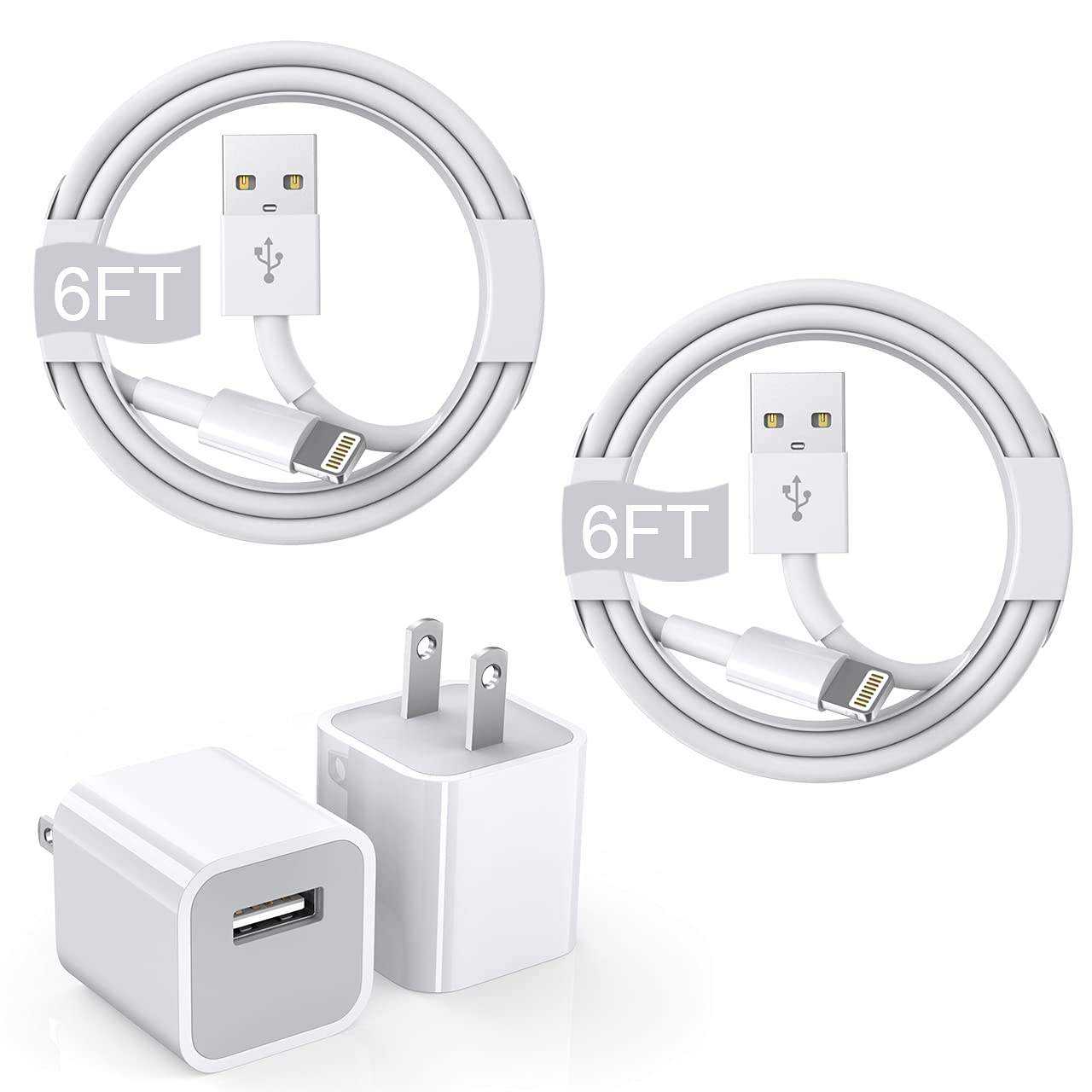 iPhone Charger Cube, 6FT 2Pack [Apple Approved MFi Certified] Rapid Lightning Cable Cord with 2 Pack iPhone Quick Charging Box USB Wall Adapter for iPhone 6/7/8 Plus/12/11/11 Pro/Pro Max/SE 2020/Xs/XR