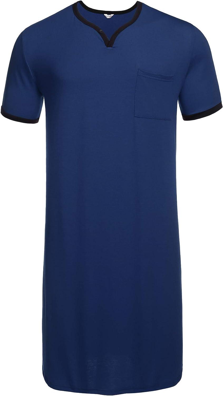 luxilooks Mens Nightgown Big & Tall Nightshirt Short Sleeve V Neck Sleepwear Pajama Shirt Summer Henley Sleepshirt Tops