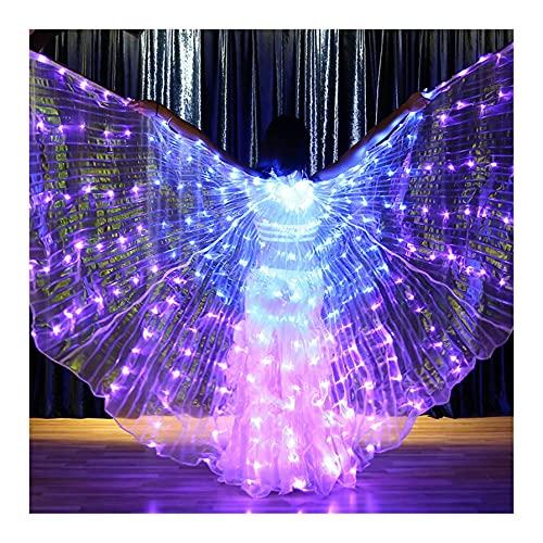 SUKDO Alas De Danza del Vientre LED, con 5 Modos De Color Alas De Mariposa para Mujer Alas De ngel ISIS con Bastn Telescpico para Accesorios De Vestuario De Danza De Rendimiento