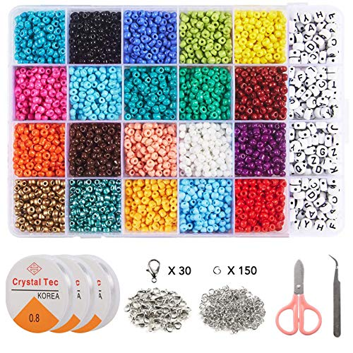 5280pcs 4mm Glass Seed Beads of 20 Colors and 280pcs Alphabet Letter Beads for Bracelet Jewelry Making, ZYNERY Seed Bead Set with Elastic Strings, Jump Rings, Lobster Clasps, Scissors and Tweezers