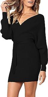 94b5a4e7de SUNJIN ARCO Women s Sexy Deep V Neck Backless Long Sleeve Wrap Bodycon  Pencil Mini Sweater Dresses
