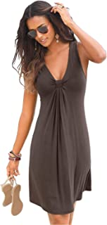 Scioltoo Women's Summer Sleeveless Mini Dress Comfortable Loose Beach Dress