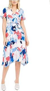 ALFANI Womens Blue Patterned Short Sleeve V Neck Below The Knee Fit + Flare Dress AU Size:8