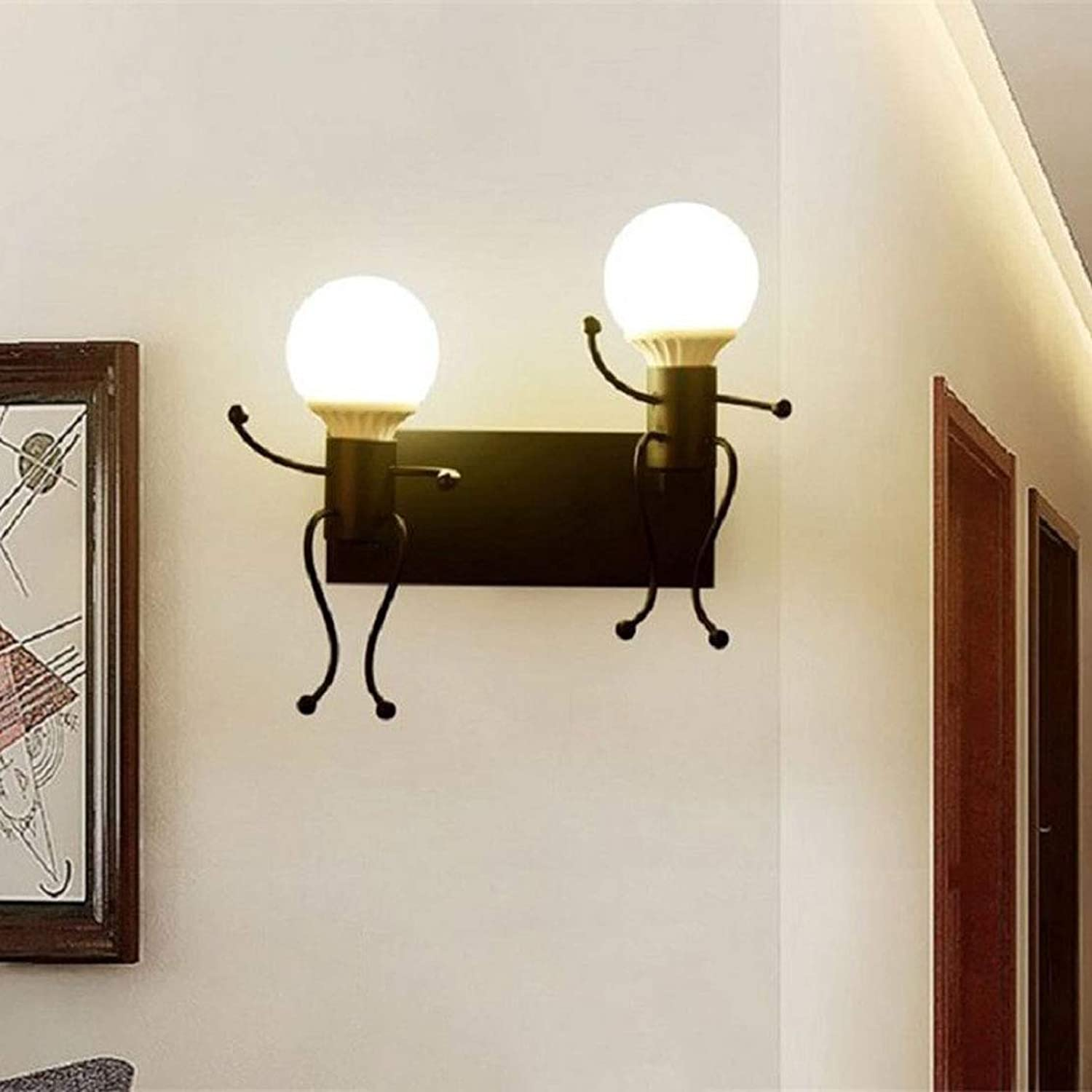 MTGYF Schlafstrauer Wall Lampe Retro Creative Living Room Bracket Lampe (110-220v) Kinderzimmer Persnlichkeits-Personality-Wand-Lampe Lightingwrought Iron Villain Wandlampe 33  26cm Beleuchtung